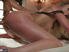 Sweet blonde screams in exploitive scenes of anal doggy style