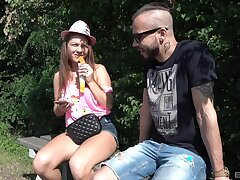 Quickie outdoors shafting with amateur show one's age Mila Fox