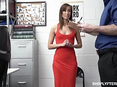 Security guy punishes slender tall tolerant Christy Love