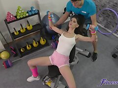 Fit spread out Lana Seymour gets fucked balls deep by a personal trainer