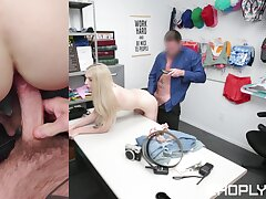 Petite shop lifter gets her pussy ruined apart from the security chief
