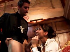 Unusual bonking between a priest increased by naughty slut Lezley Zen