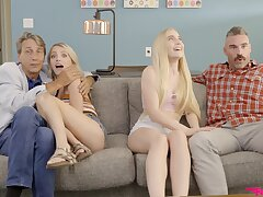 Blonde beauties share and coins in crazy XXX home foursome