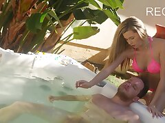 Alluring babe removes her pink bikini be proper of a nice fuck by the pool