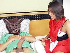 Stepdad spread a crimson wall villeinage mask's vulva