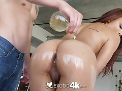 Having got lubed busty cowgirl is ready for doggy and cock riding workout
