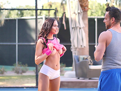 Sporty brunette teen babe Ariana Marie receives hard cock outdoors