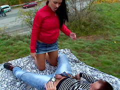Brunette teen gets her delicious cunt pounded by a horny friend