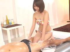 Delicate Japanese brunette teen babe rides a cock before a massage