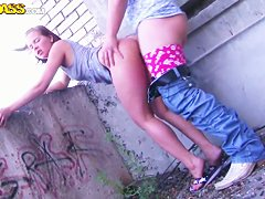 Pretty neighbourhood girl Venday fucking with me on the roof of her home