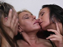 Three old and young lesbians attempt great fun