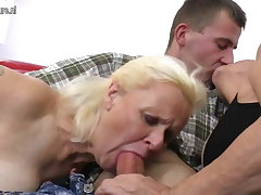 Two grandmas enjoy a chunky cock in trine