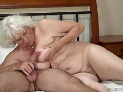 Horny granny gets say no to pussy serviced by a young guy