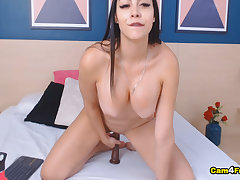 Sexy Spanish Brunette With Huge Juggs Fingering