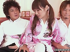 Ardent pigtailed Japanese hottie in cute kimono is continually ready to suck dick