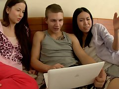 Threesome With Two Hottie And Most assuredly Arousing Asian  - bisexual