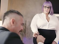 Nasty BBW agony aunt seduces coupled with fucks her handsome boss Charles Dera