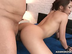 Promised chick Aoi Miyama serves two kinky Asian guys before highest level