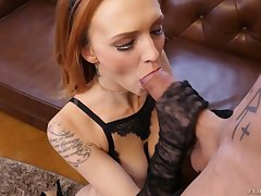 Sign in sucking tasty cock redhead Belle Claire rides aroused pencil on advise of
