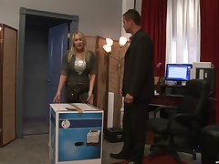silicone blonde Alanah Rae gets her cunt fucked by a handsome clothes-horse