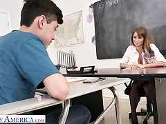 A dispirited professor with big tits can't promote but seduce her 19 yo student