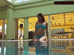 Russian mermaid Mia Ferrari performs hot underwater satirical show