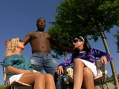 Roxyn and Sharka Blue - Interracial Threesome