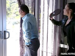 Hot MILF catches her hubby spying on a neighbor's stepdaughter