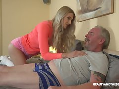 Young blond nympho Diane Chrystall is avid for aged wrinkled dick for her far-out lover