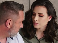 Mouth watering brunette Casey Calvert is making love with elder lover