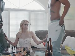 Two big black dudes bang slender blondie with small tits Chloe Rubicund