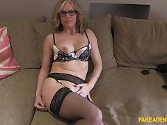 Mature blonde Summer Crunch at one's best with glasses fucked on the fake casting