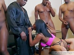 wild gangbang fix it sex orgy in the air busty ebony slut - big black cocks