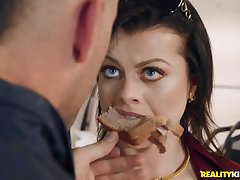 Crazy shafting from behind for chubby mature Nadia White by a car mechanic