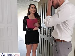 Leggy secretary Ella Reese seduces married boss and bangs him take his home