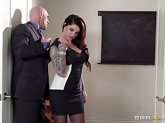 Business young gentleman Darling Danika in stockings gets fucked and cum on butt