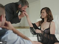 Inviting voyeur is watching old timer fucking his glum young wife
