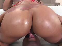 Hot ass ebony Halle Hayes sucks a massive black dick before anal