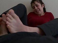 My horny girlfriend footjob porn
