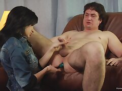 Step dad plays submissive for his slutty step daughter