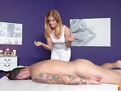 Hot masseuse Chrissy gets say no to beloved cunt drilled by a hung client