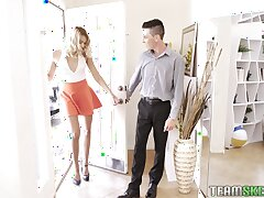 Slender together with tall blonde Chanel Grey is fucked by two randy guys