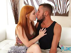 Flat tittied ginger girlfriend is fucked and jizzed wits hot blooded fellow