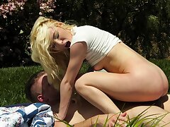 Aroused blondie likes the outdoor fun with this massive load of shit