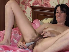 Hairy Pussy Toy Masturbation with Evil Eva